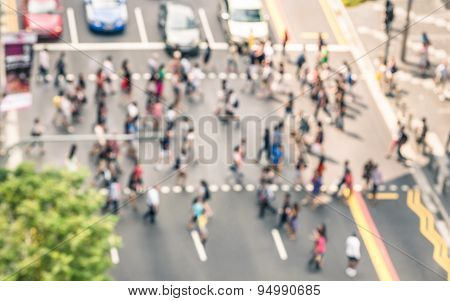 Blurred Defocused Abstract Background Of People Walking On The Street In Orchard Road In Singapore