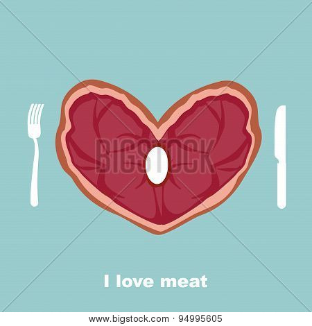 I Love Meat. Heart Steak. Cutlery: Fork And Knife. A Delicacy For Lovers Of Pork And Beef. Vector Il