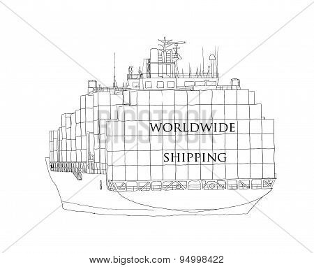 Ship overloaded with container Worldwide Shipping.