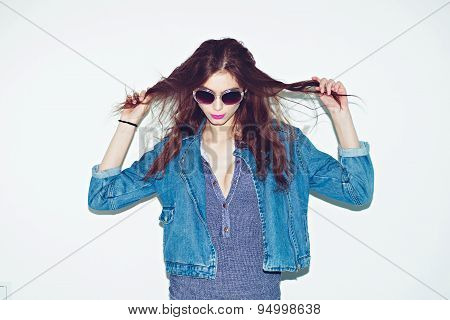 Funky trendy young woman - pin-up retro american style. Beatnik