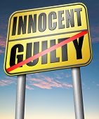 innocent or guilty presumption of innocence until proven guilt as charged in a fair trial for crime suspect  poster
