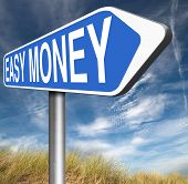 fast easy money quick extra cash make a fortune online income road sign  poster