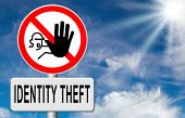 identity theft stop warning sign stealing ID online is an internet or cyber crime poster