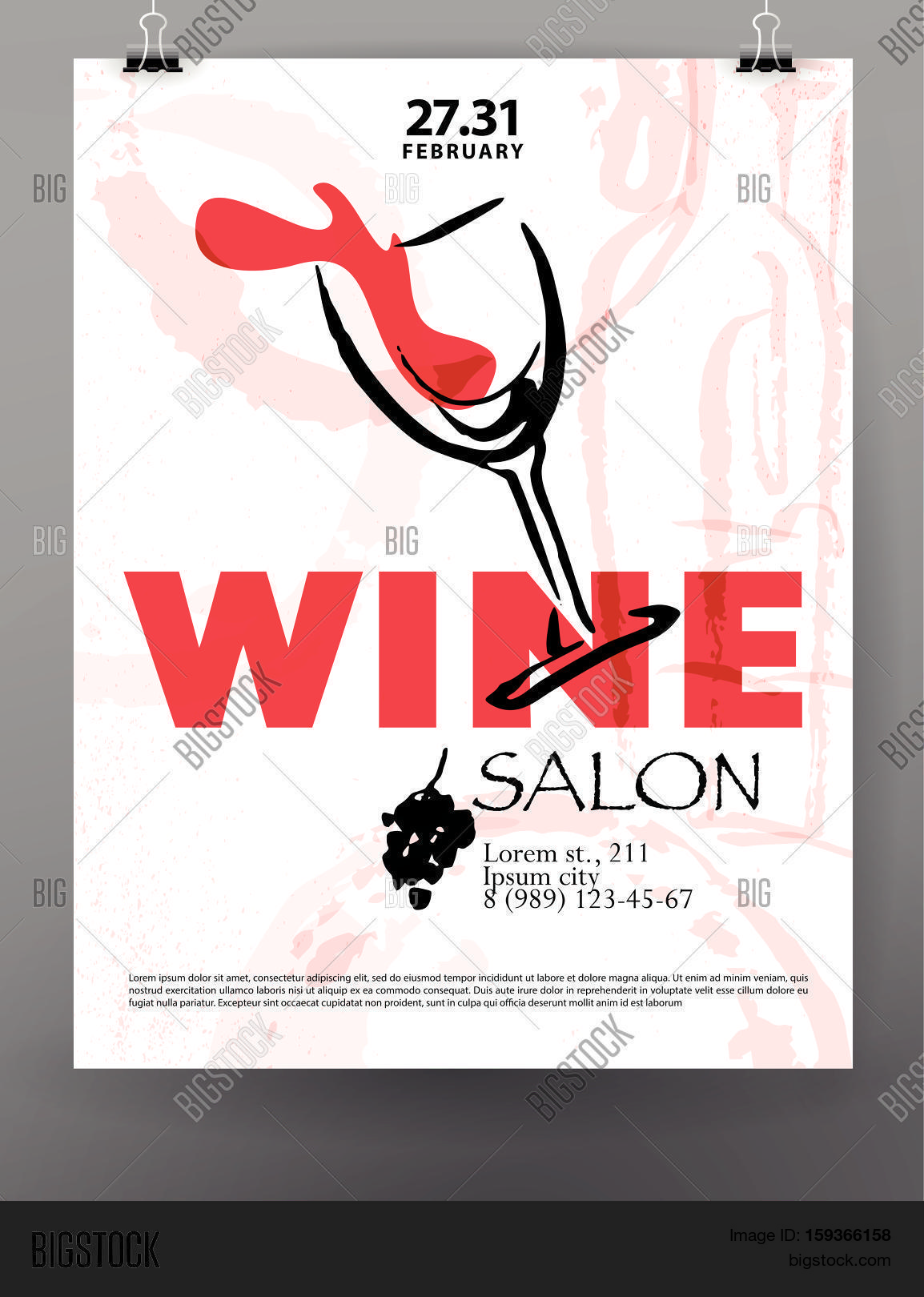 Vector Artistic Hand Drawn Wine Festival Poster Design Ink Drawing Illustration Watercolor Painting