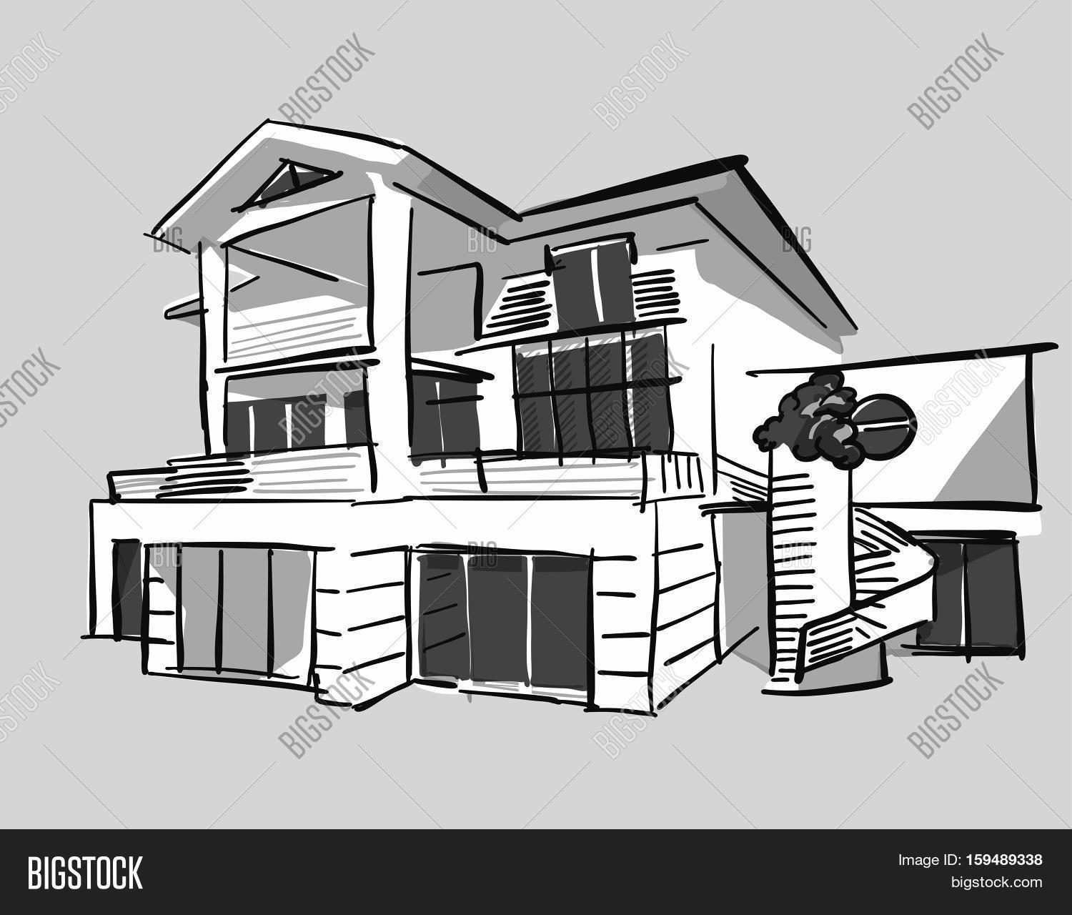 Grayscale drawing dream house vector photo bigstock for Easy to draw mansion