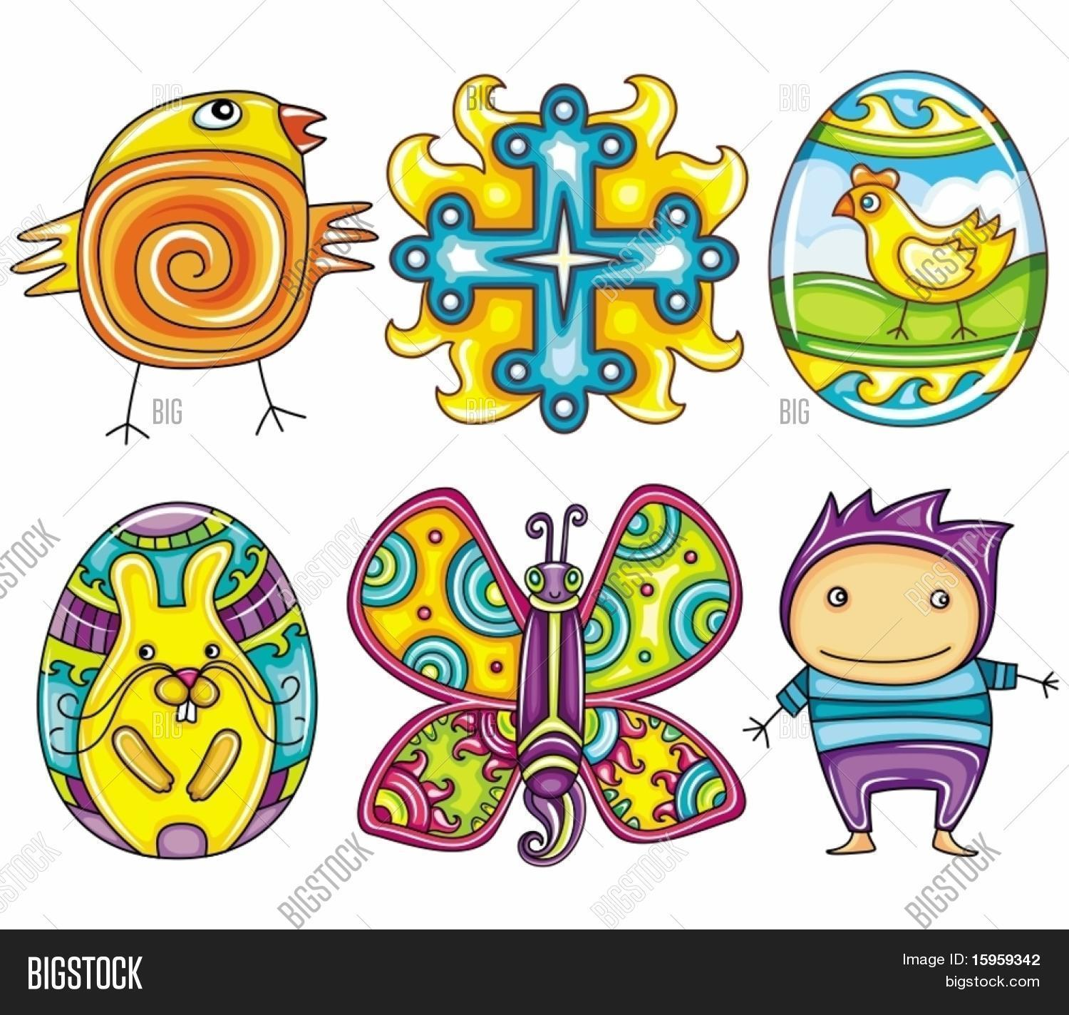 Easter Cartoon Icon Set Part 2 Cute Newborn Chick Cross Sign Decorative Painted