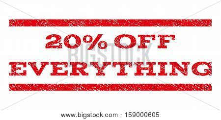 20 Percent Off Everything watermark stamp. Text caption between horizontal parallel lines with grunge design style. Rubber seal stamp with unclean texture.