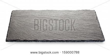 Black slate board isolated on white background