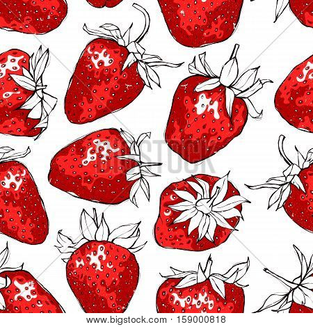 Seamless pattern with red strawberries. Hand drawn vector illustration with grunge texture. EPS10.