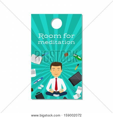 Room for meditation sign design for office door, isolated on white. Vector illustration