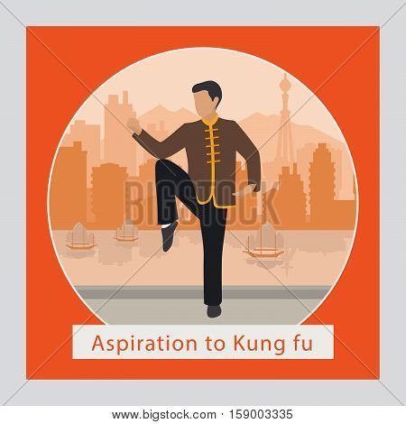 Aspiration to kung fu man and logo, vector illustration