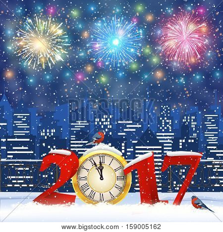 happy new year and merry Christmas Winter Cityscape with snow flakes. Christmas card with cityscape and fireworks, 2017 with clock