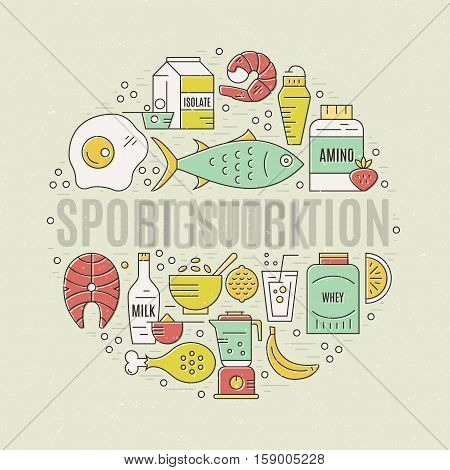 Sport nutrition vector concept with different healthy food items. Modern linear style vector. Diet illustration. Weight loss concept.