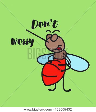 Keep calm funny cartoon mosquito poster vector illustration