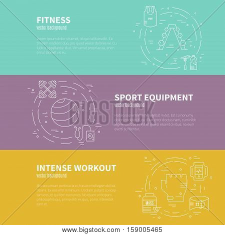 Set of vector banners orf lyers with different sport equipment and place for your text. Gym and fintess advertising template made in modern line style vector.