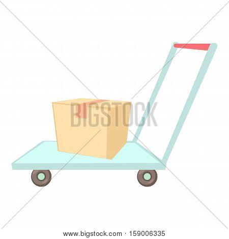 Warehouse trolley icon. Cartoon illustration of warehouse trolley vector icon for web