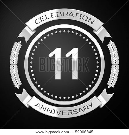 Eleven years anniversary celebration with silver ring and ribbon on black background. Vector illustration