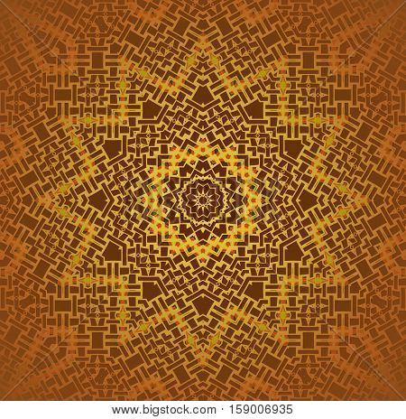 Abstract geometric seamless background. Regular ornate star ornament in yellow, gold and orange shades on brown, centered and blurred.