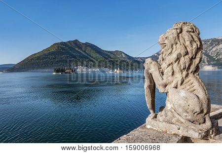 Perast, Montenegro- November 4, 2016: Our Lady of the Rocks Church on the Island and St. George Island in the Bay of Kotor Montenegro