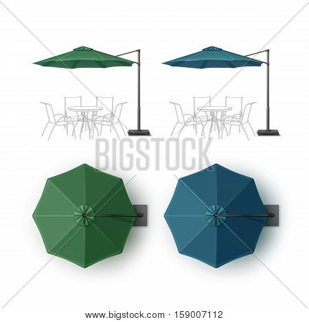 Vector Set of Blue Green Blank Patio Outdoor Beach Cafe Bar Pub Lounge Restaurant Round Umbrella Parasol for Branding Top Side View Mock up Close up Isolated on White Background.
