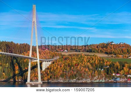 Modern Cable-stayed Bridge In Norway