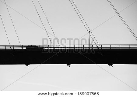 Car On Cable-stayed Bridge In Norway, Silhouette