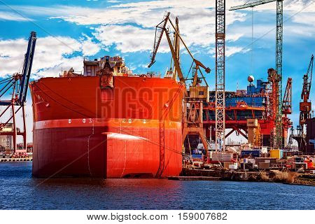 A ship under repair at shipyard in Gdansk Poland.