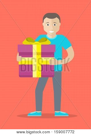 Giving present concept. Smiling man standing with gift box decorated ribbon and bow flat vector illustration isolated on red background. Birthday, valentine, christmas celebrating. For greeting card