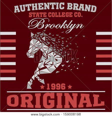 New york Brooklyn sport typography t-shirt. New york College fashion design print for t-shirt. Horse speed disintegrates - vector