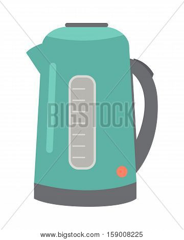 Teapot or electric kettle isolated on white. Household appliances. Electronic device. Home appliances. Shiny kettle tea kettle for boiling water icon sign. Vector illustration in flat style design