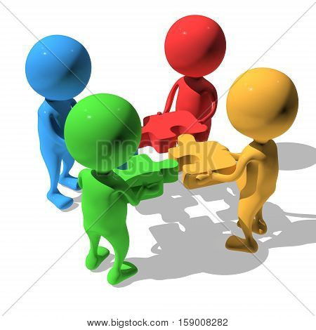 Merger concept. Four businessmen trying to connect red blue green and yellow puzzles. 3d render illustration isolated on white background.