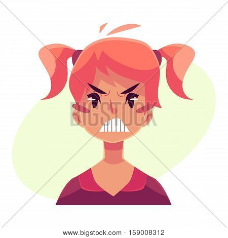 Teen girl face, angry facial expression, cartoon vector illustrations isolated on yellow background. Red-haired girl emoji face, feeling distresses, frustrated, sullen, upset. Angry