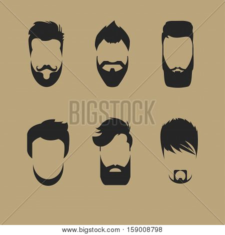 set of different men hipster haircuts, beard, mustache icons flat - Vector