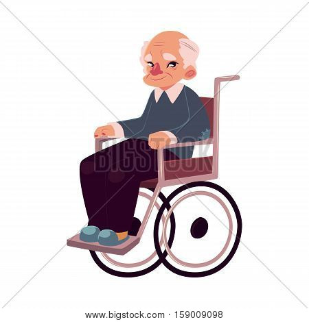 Portrait of happy old man sitting in wheelchair, cartoon vector illustration isolated on white background. Disabled senior, elder man, granddad sitting in wheelchair, living with disability concept
