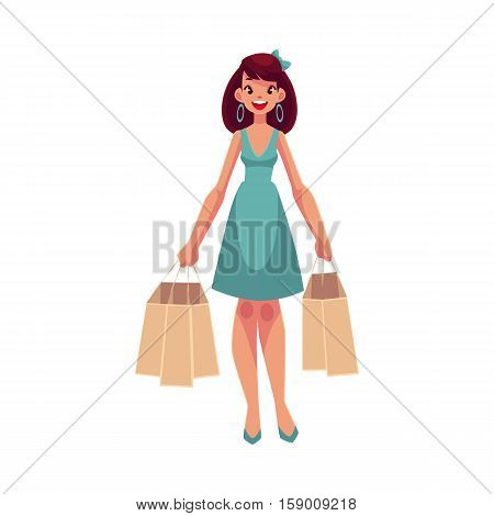 Young beautiful woman with shopping bags, cartoon vector illustration isolated on white background. Full length portrait of young pretty girl, woman doing shopping in the mall