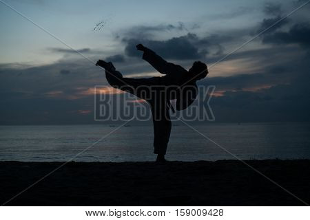 Silhouette of martial arts man training taekwondo on the beach over beautiful sunset background