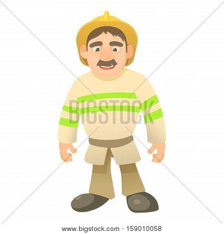 Standing firefighter icon. Cartoon illustration of standind firefighter vector icon for web