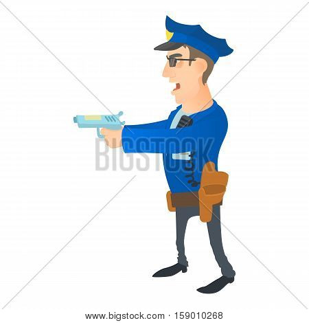 Brave policeman icon. Cartoon illustration of brave policeman vector icon for web