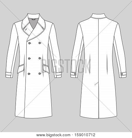 Man's coat outlined template (front & back view) vector illustration isolated on grey background