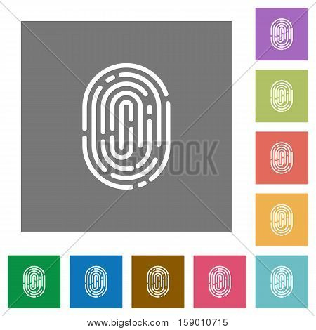 Fingerprint flat icons on simple color square background.