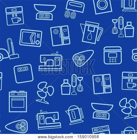 Appliances, background, seamless, blue. Vector light blue contour icons appliances for home and kitchen on a dark blue background.