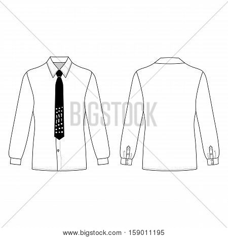 Long sleeve man's shirt & tie outlined template (front & back view) vector illustration isolated on white background