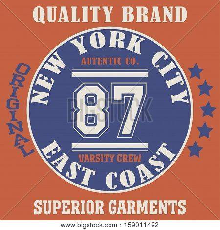 New york city typography, t-shirt graphics - vetor