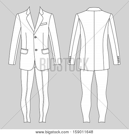 Man's suit (jacket & skinny jeans) outlined template front & back view vector illustration isolated on grey background