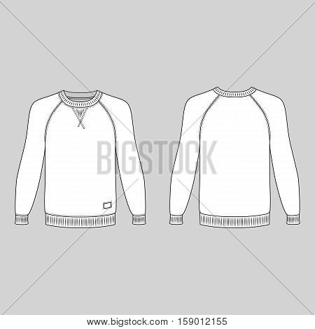 Raglan long sleeve t-shirt outlined template (front & back view) vector illustration isolated on gray background