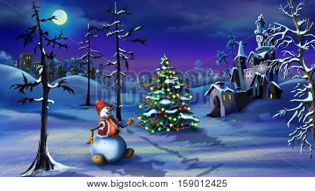 Snowman and Christmas Tree near a Magic Castle in a Fairy tale winter night Christmas Eve. Handmade illustration in a classic cartoon style.