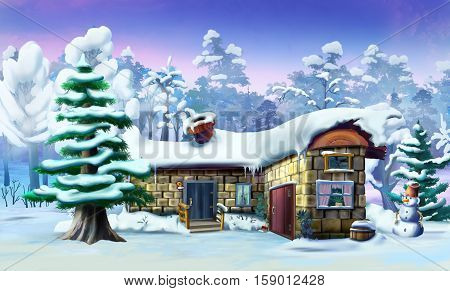 Big Spruce Near a Fabulous House in a Winter Forest. Handmade illustration in a classic cartoon style.