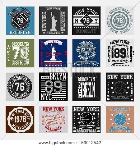 New york  typography fashion set, t-shirt graphics. Vector illustration