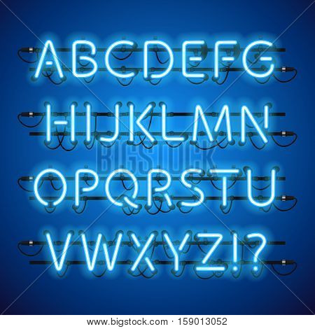 Glowing Neon Blue Alphabet. Used pattern brushes included. There are fastening elements in a symbol palette.