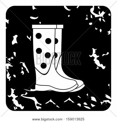 Rubber boots icon. Grunge illustration of rubber boots vector icon for web